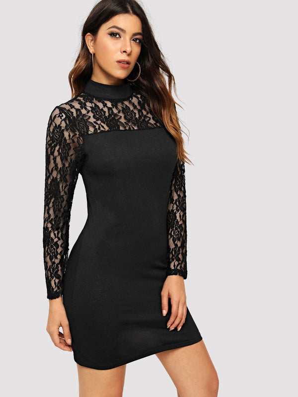 Mock-Neck Lace Yoke Dress - ethereal-arscenic