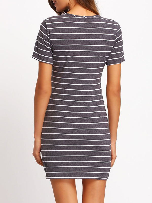 Contrast Striped Casual T-shirt Dress - ethereal-arscenic