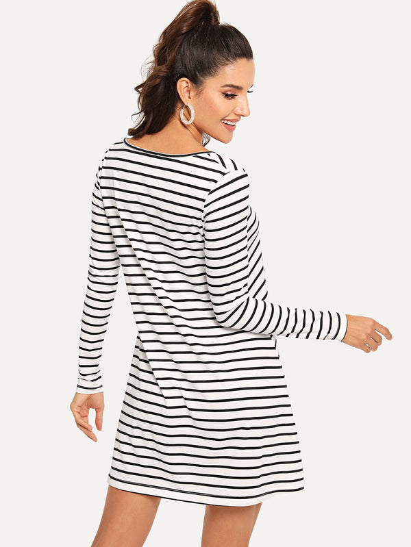 Criss Cross Striped Dress - ethereal-arscenic