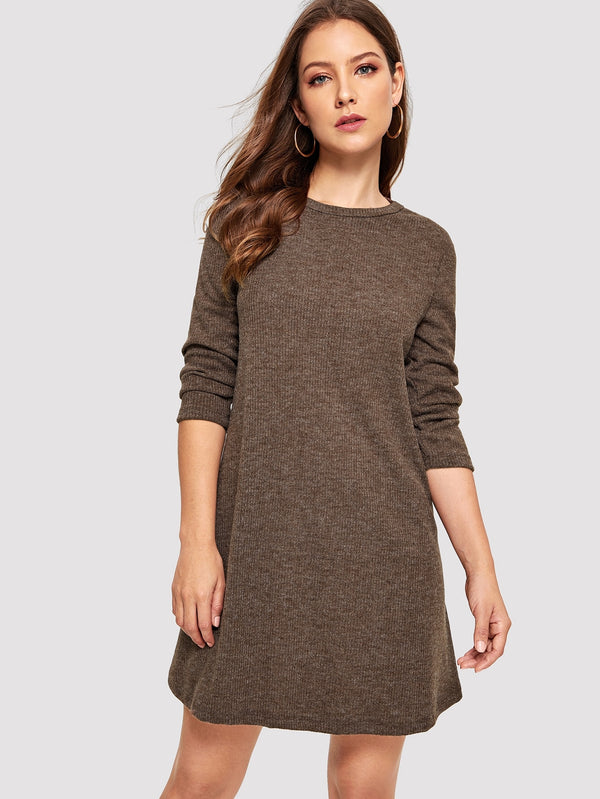 Crew Neck Casual Sweater Dress - ethereal-arscenic