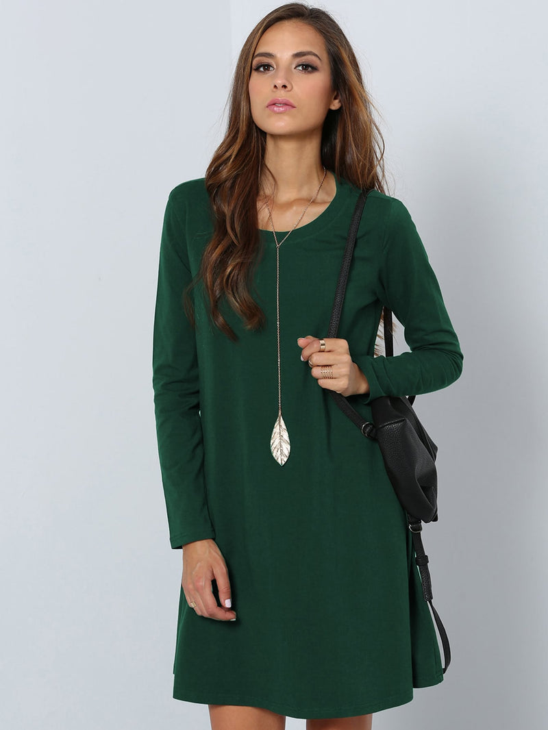 Solid Swing Tee Dress - ethereal-arscenic