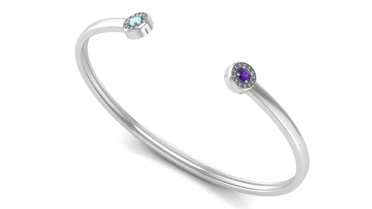 Sterling Silver Cuff with Two Halo Birthstones