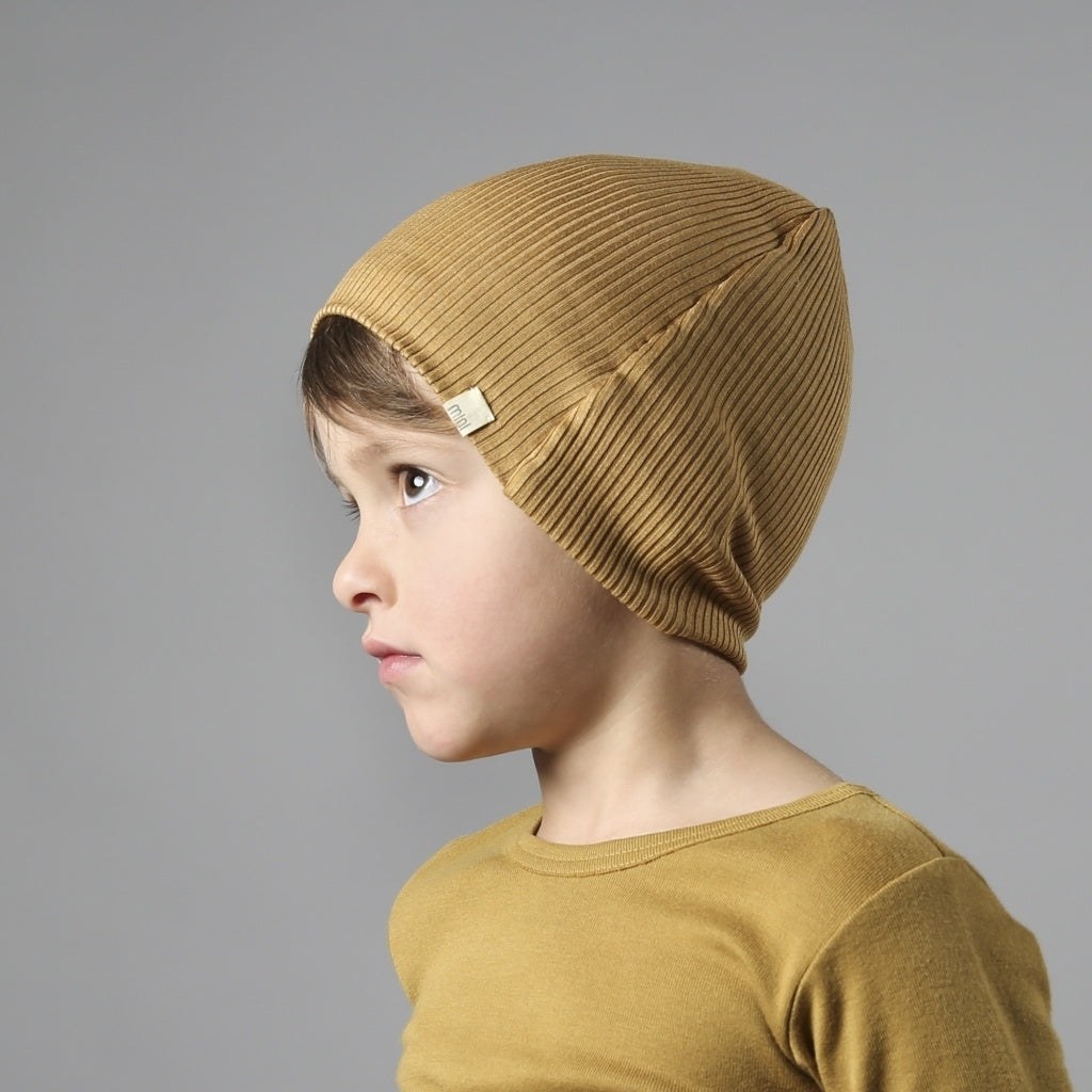 Hat / Bonnet babies wear organic sustainable luxurious fashion children clothes silk seamless merino wool natural design nordic minimalisma shop sale Bambi Golden Leaf