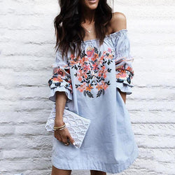 Sexy Off-the-shoulder Flared Sleeves Mini Dress