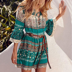 Bohemian Beach Dresses Gothic Tunics Retro Vintage Midi Dress