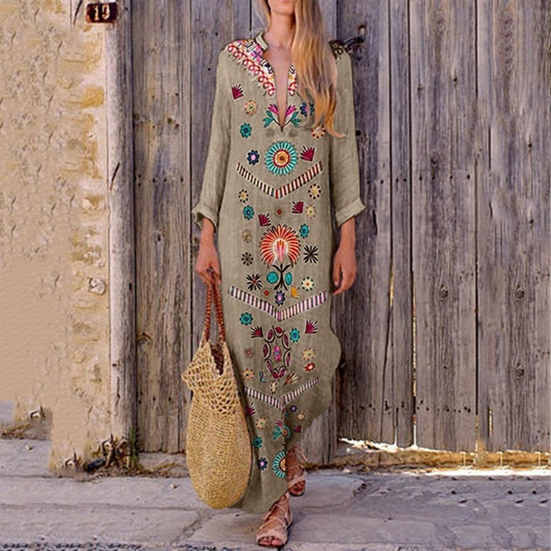 V-Neck Bohemian Printed Dress