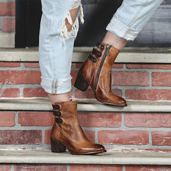 Autumn Winter Leisure Round Toe Chunky Heel Martin Boots