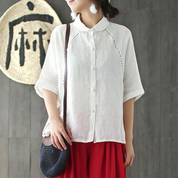 Solid Leisure Embroidery Short Sleeve Shirts