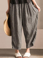 Women Irregular Lattice Loose Linen Cotton Long Pants