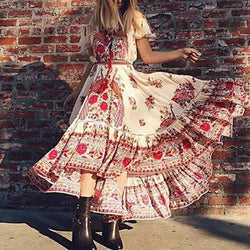 Bohemian Print Boat Neck Tassel NavelShort-Sleeved Dress