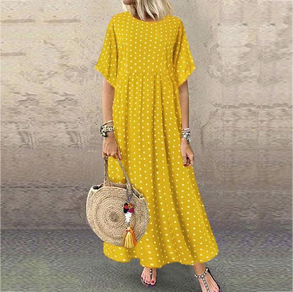 Casual Printed Short-Sleeve Maxi Dress