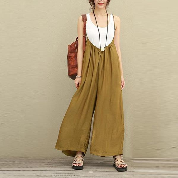 Women Casual Sleeveless Strap Baggy Wide Leg Jumpsuit