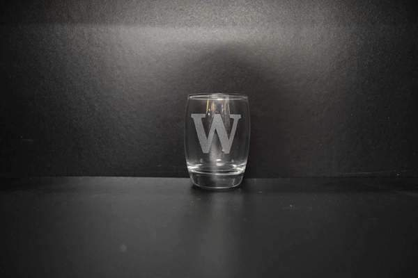 Just Miniatures:Salto Shot Glass - Alphabet Character,Glass Engraving