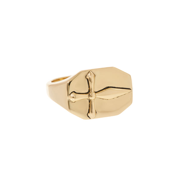The Cross Signet Ring- Gold