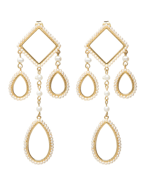 Peony Pearl Statement Earrings- Gold