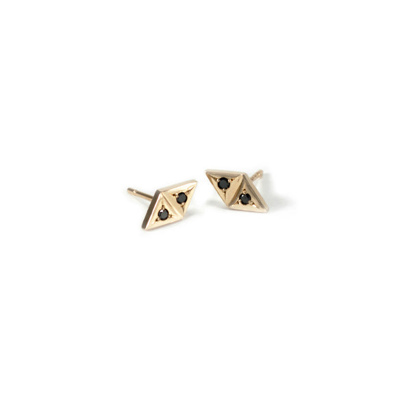 14k recycled gold and black diamond earrings handmade by MGG Studio