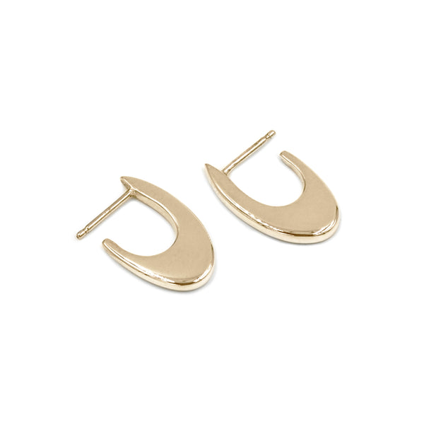 handmade polished recycled 14k yellow gold hoop earrings MGG Studio