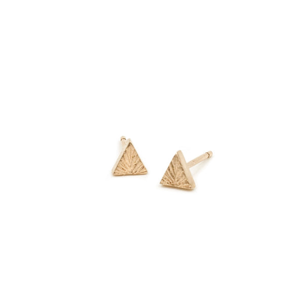 ecofriendly recycled gold edgy triangle stud earrings by MGG Studio