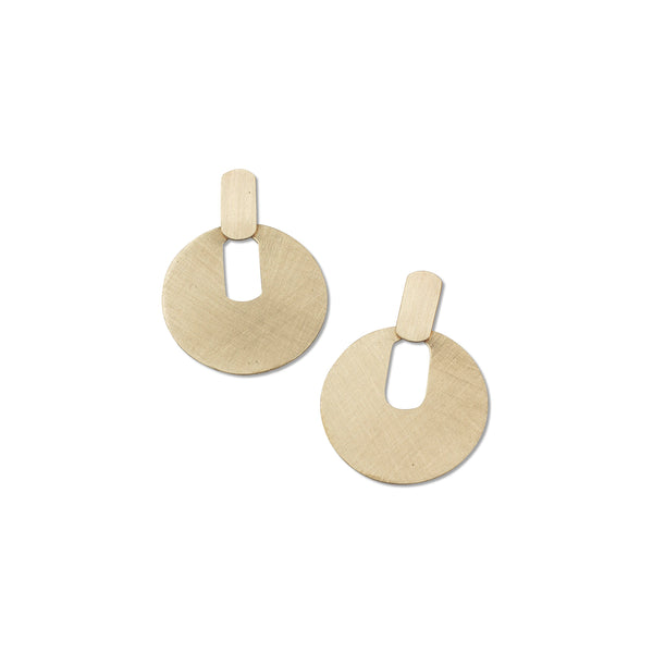 modern everyday circle earring in brushed brass from MGG Studio