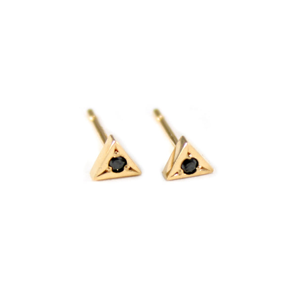 14k gold and black diamond studs from MGG Studio