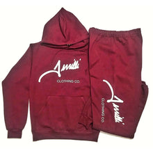 "Load image into Gallery viewer, Burgandy Terrilli ""Signature"" Unisex Pull Over Hoodie Sweat Suit"