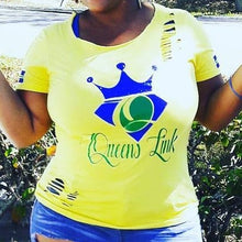 "Load image into Gallery viewer, Queens Link ""I Am Queen"" Cutty T-Shirt (Yellow/Royal/Green)"