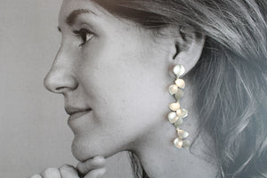 Earrings, white silver leaves