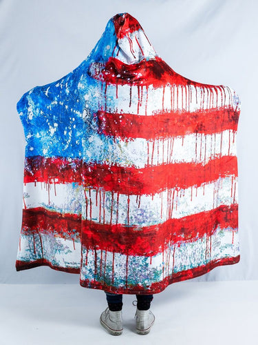 Bleeding American Design Hooded Blanket