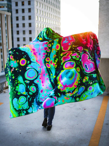 Holographic Melt Design Hooded Blanket