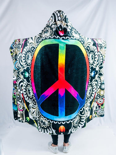 Peace Sign Design Hooded Blanket