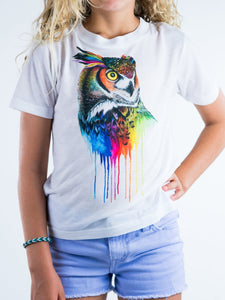 Colorful Owl Design Kids Tee