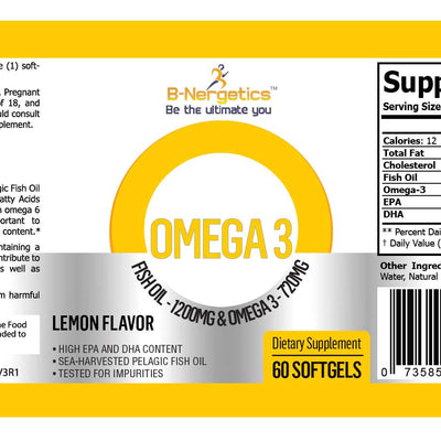 B-Nergetics Omega 3 Product Label Ingredients Picture