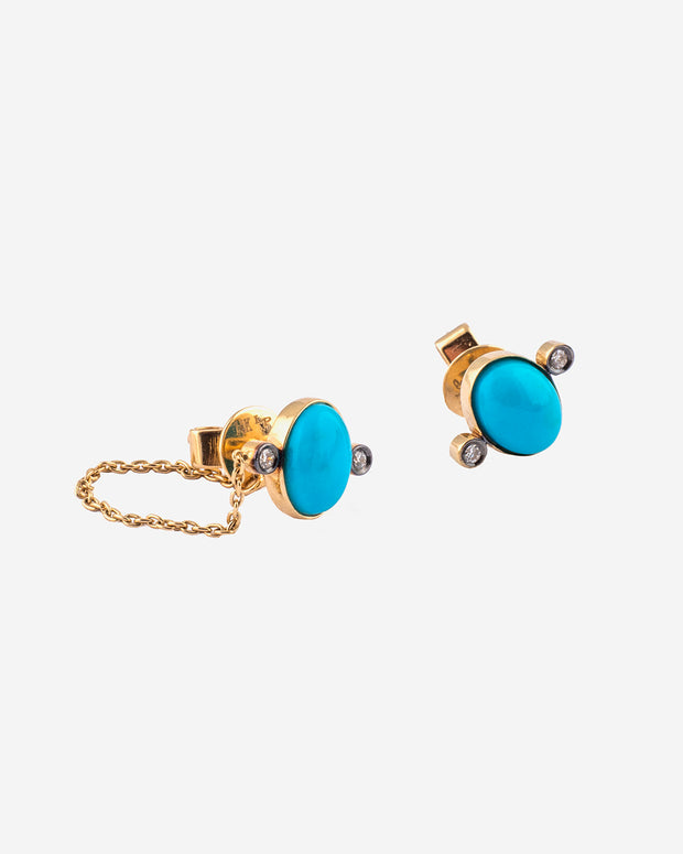 Gold, Turquoise and Diamonds Earrings