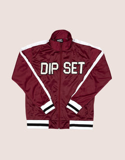 Women's Burgundy DIPSET White 97 Track JAcket - DIPSET COUTURE