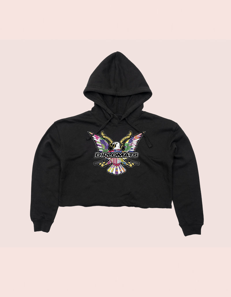 GIRLS CROP TOP HOODIE BLACK COLOR CAMO EAGLE - DIPSET COUTURE