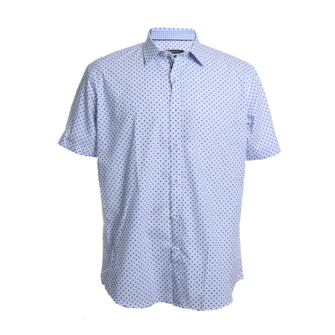 Short Sleeve Cotton Printed Button Down Shirt