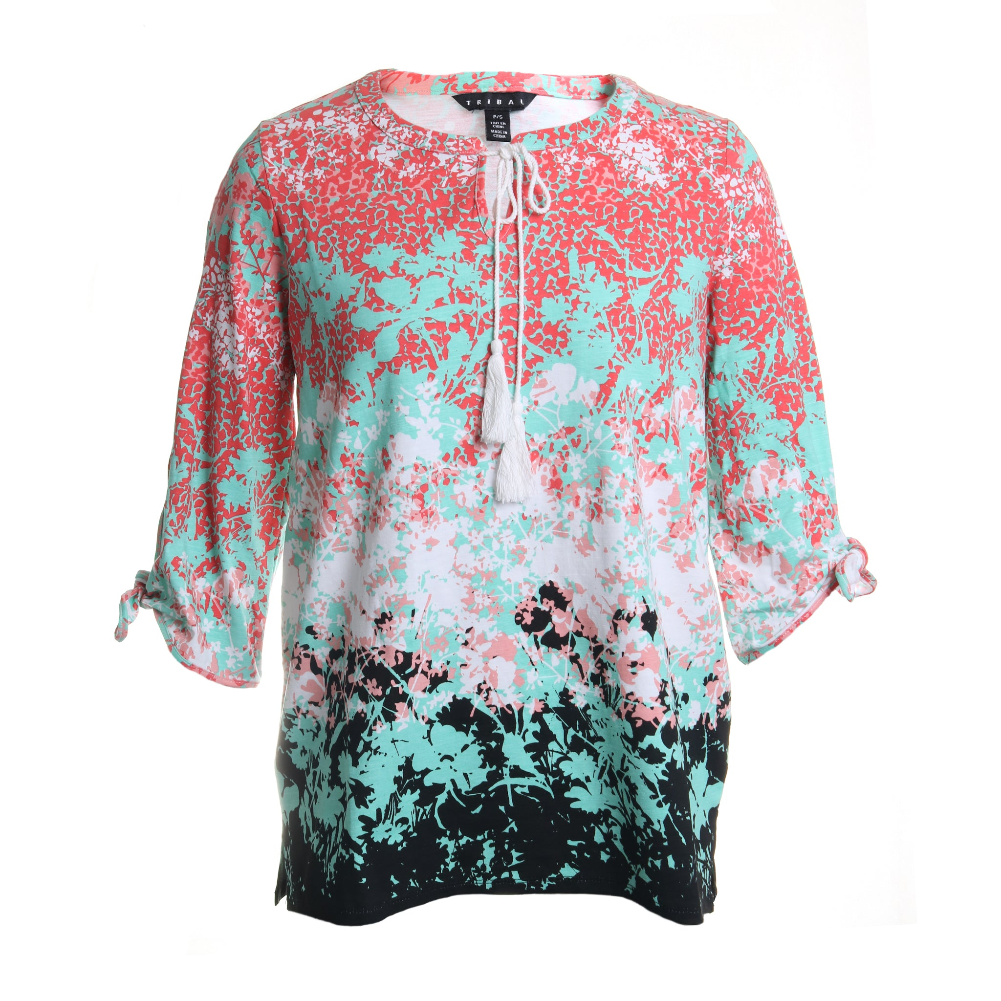 Floral Knot Sleeve Popover Blouse
