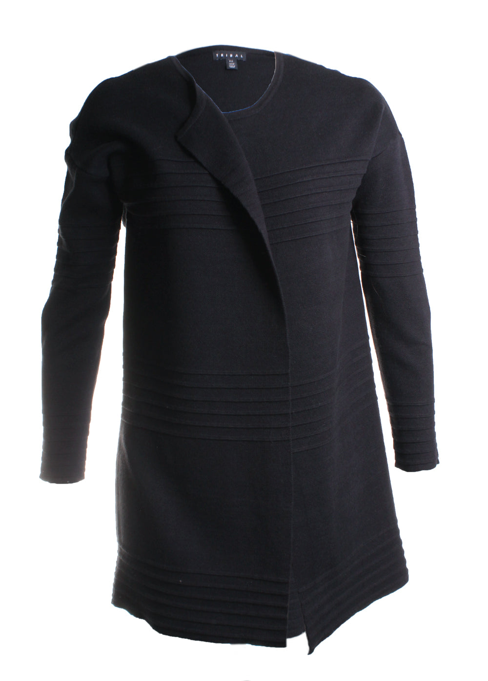 Ribbed Cardigan Sweater in Black