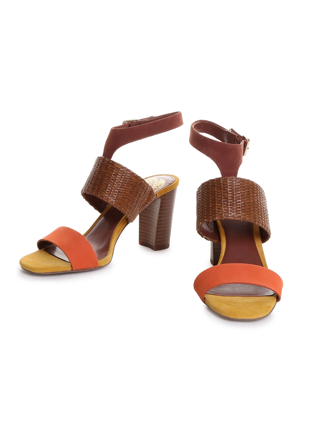 Warma Ankle Strap Suede Block Heel Sandal in Juice Nut Mix Dandelion