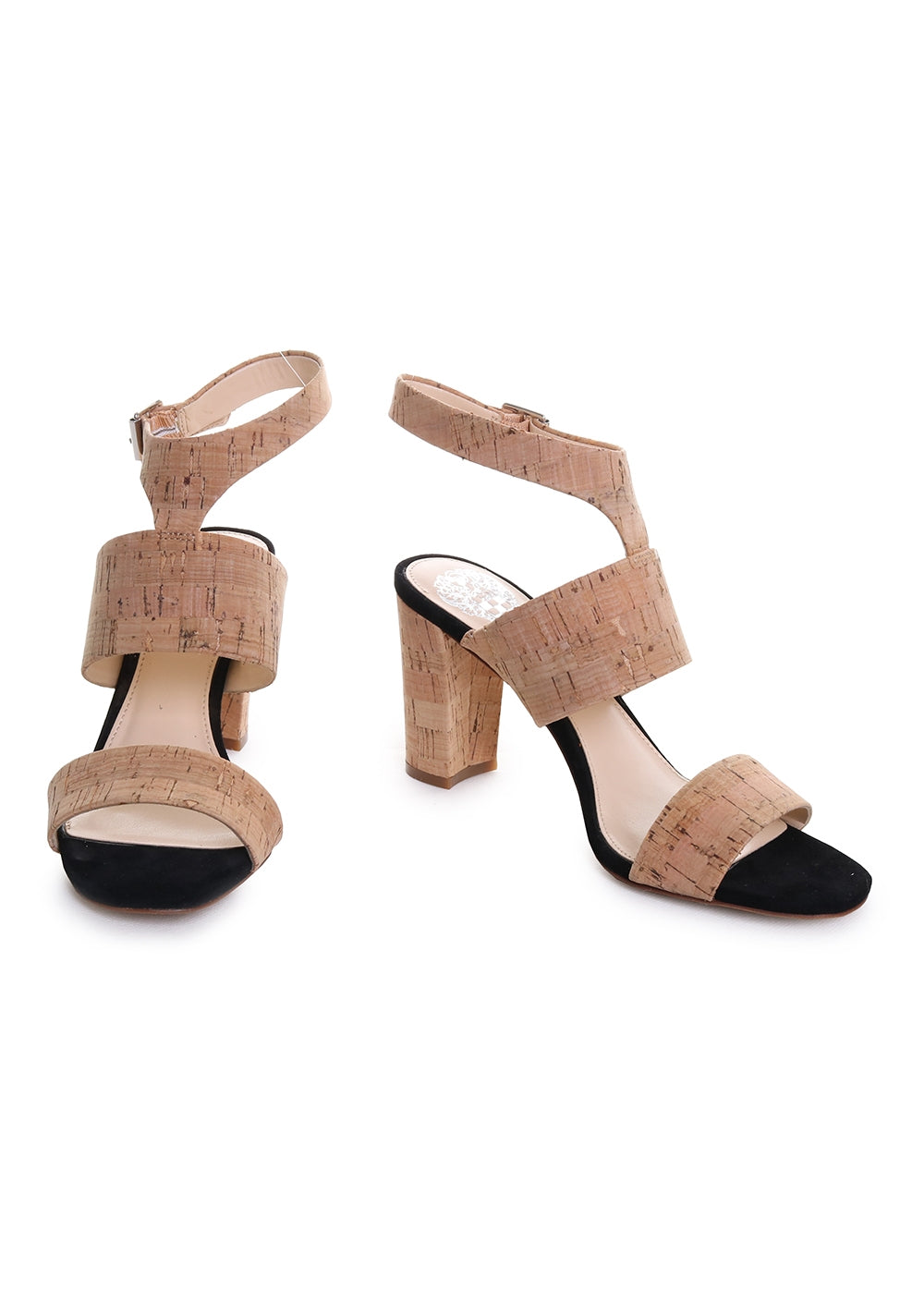 Warma Ankle Strap Suede Block Heel Sandal in Natural Cork