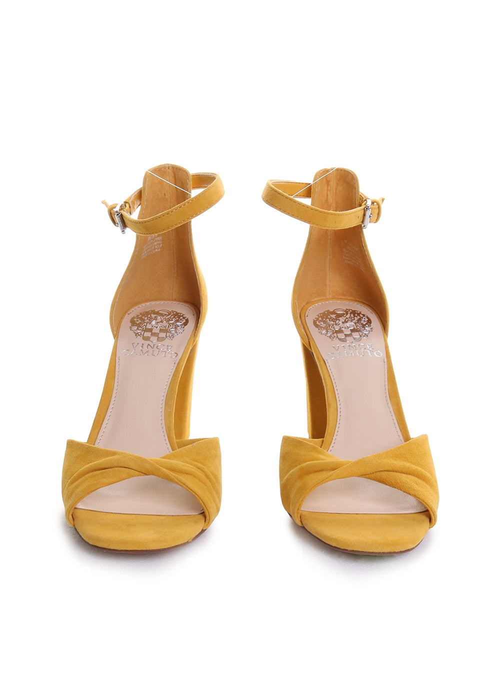 Wesher Twisted Strap Suede Heeled Sandals in Dandelion