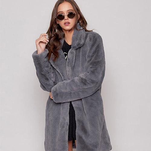 Long Sleeve Lapel Unremovable Fur Collar Fur Coats