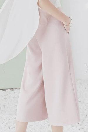 Fashionable High Waist Solid Color High Slit Palazzo Pants For Women