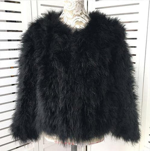 Ostrich Feather Fur Jacket