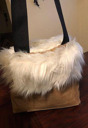 Leather Furry Large Pocket Satchel