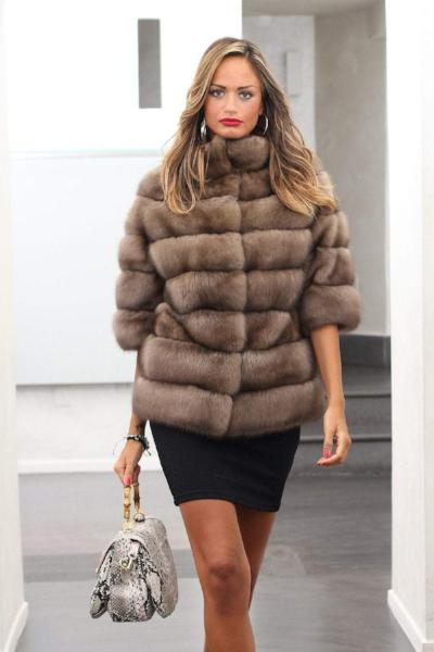 Fashion Striped Fur Coat