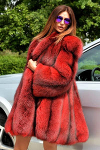 Warm Red And Black Fur Coat
