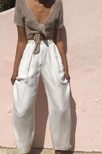 Short-Sleeved Lace-Up Wide-Leg Pants Suit