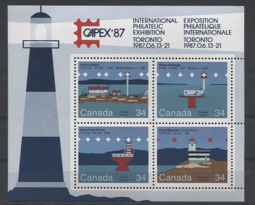 Canada #1066b (SG#MS1180) $1.36 1985 Lighthouses Souvenir Sheet DF-fl Paper VF-75 NH Brixton Chrome