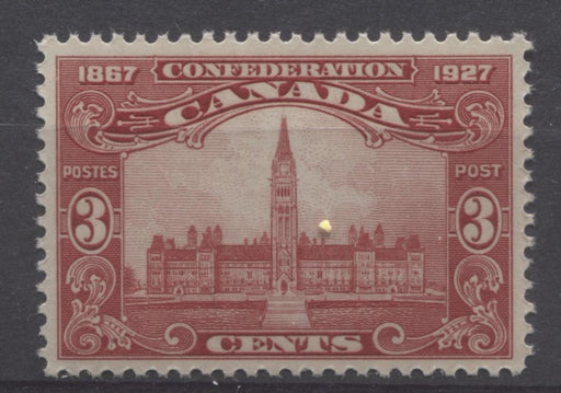 Canada #143 (SG#268) 3c Carmine Red Parliament 1927 Confederation Issue Paper With No Mesh VF-80 NH Brixton Chrome